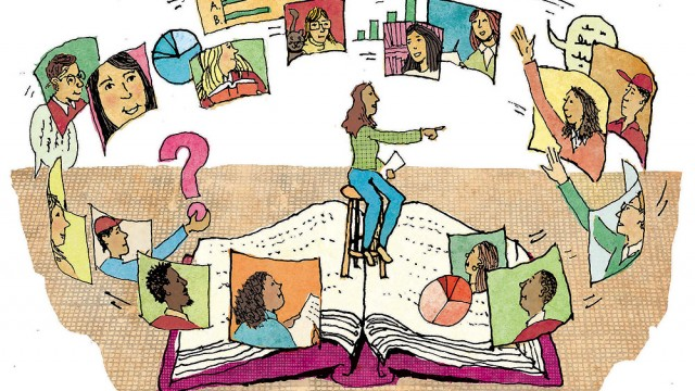 An illustration showing a teacher sitting on an enormous open book with students on screens hovering around her, some raising their hands to ask questions