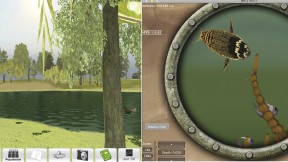 Graduate School of Education professors Tina Grotzer and Christopher Dede have designed virtual realities, such as the pond above, for students to explore as scientists: for example, by collecting data along the shoreline or underwater, via submarine.
