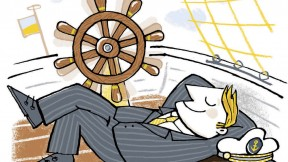 A businessman reclines on the deck of a ship with no one at the helm