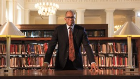 Randall Kennedy at the table where he does his research in the reading room of Harvard Law School's Langdell Library