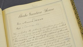 The beginning of Thomas's entry in the Class of 1838's Class Book (Harvard University Archives, HUD 238.714)