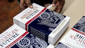 Photograph of copies of the federal budget fiscal year 2021