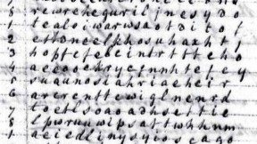 """Robert Patterson's letter to Thomas Jefferson included a worked example of his cipher. He began by writing his message in lower-case letters and in columns, running top to bottom like Chinese. This example begins with the words """"Buonaparte has at last given peace to Europe,"""" legible in the first two columns."""