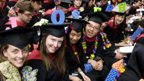 """Giving a spell-out for <a href=""""http://harvardmagazine.com/commencement/2009-speeches"""">Graduate English orator Joseph Claghorn</a> were fellow landscape-architecture students Vanessa Lindley Palmer (J; the ringleader), Katie Jean Powell (O), Sisi Sun (S), Joonhyun Kim (E), Simon Mark Bussiere (P), and Adrienne Re Heflich (H). Design School students still play with blocks."""