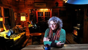 Joanne Ricca at her lakeside home in rural Maine with husband Martin Bartlett.