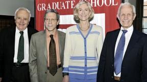 The 2010 honorands are (from left) Stephen Fischer-Galati, Eric Maskin, Martha Nussbaum, and David Bevington.