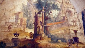 Painted fresco of a landscape, from a Roman villa