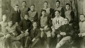 The 1892 Harvard football team. William Henry Lewis is in the white letter sweater.