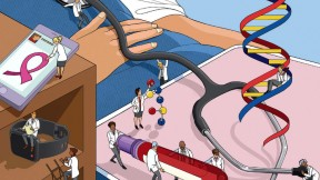 An illustration depicts the torso of a patient as teams of tiny, Lilliputian physicians run tests and examinations.