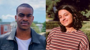 Photographs of the new student writing fellows Che Applewhaite and Mean Venkataramanan