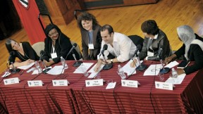 Panelists at the tenth-anniversary symposium discuss how their time as Radcliffe Fellows helped them bridge boundaries between genres. From left to right: English professor Leah Price, painter Beverly McIver, filmmaker Jeanne Jordan, composer Tarik O'Regan, filmmaker Anne Makepeace, and lawyer Hauwa Ibrahim.