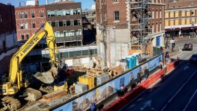 Photograph of major construction projects in Harvard Square