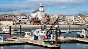 Provincetown harbor in the winter
