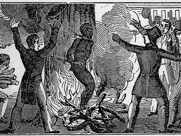 Illustration of the murder of Francis McIntosh in 1836. McIntosh is bound to a tree and burned alive while a mob watches.