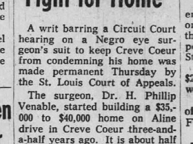 """Historic newspaper article headline """"Dr. Venable Loses Ruling in Fight for Home"""""""