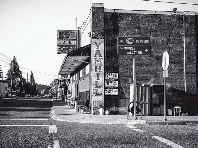 Photograph of downtown Yamhill, Oregon, with general store