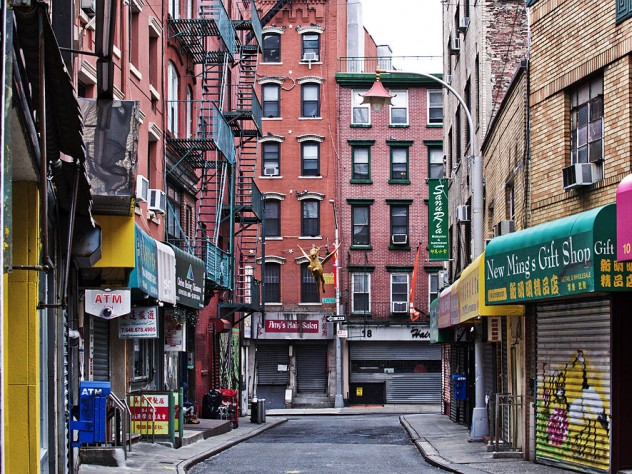 Photograph of vacant streets and closed shops and restaurants in Manhattan's Chinatown