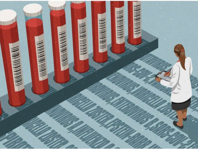 Illustration of a woman in a lab coat studying shadows cast by vials of blood, each shadow a readout indicating the presence of a past exposure to a specific pathogen.