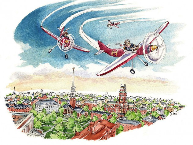 Cartoon showing student pilots flying airplanes above Harvard's campus