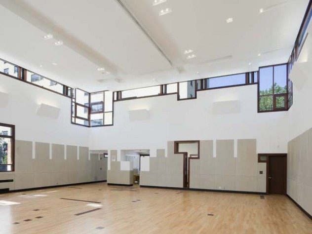 An interior view of the community center, showing its unusual window placement