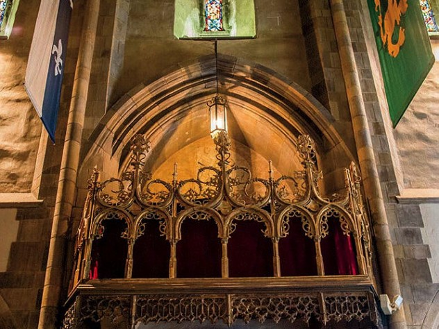 Ornate stonework and stained glass in the cathedral-like Great Hall