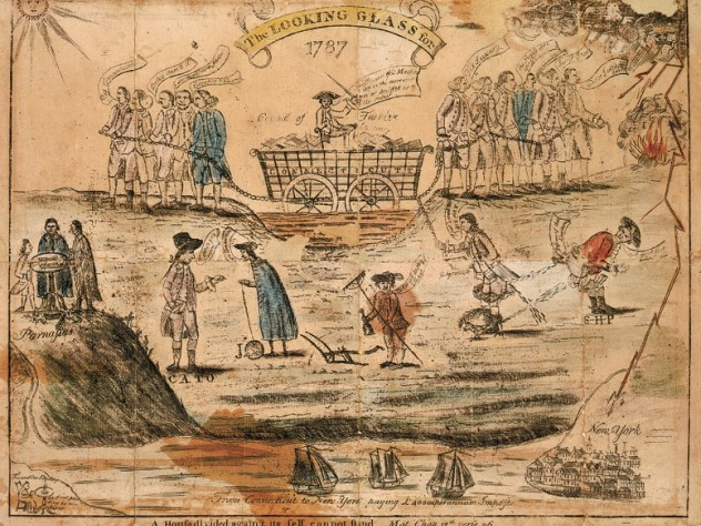 """Amos Doolittle cheekily depicted the passions over ratification in this 1787 engraving with watercolor, with """"Federals"""" (business interests), left, and agrarian """"Antifederals,"""" right, differing over currency and Connecticut's debts: a mired wagon being pulled in opposite directions."""