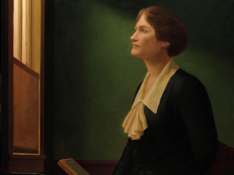 "Posthumous portrait of astronomer Cecilia Payne-Gaposchkin looking up and through a window, echoing Vermeer's painting ""The Astronomer"""