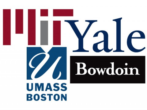 Logos for MIT, Yale University, Bowdoin College, and UMass Boston