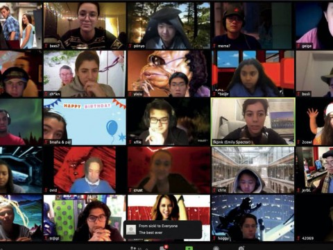 A Zoom screen shot of multiple Harvard student members of the College radio station, WHRB