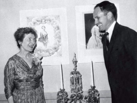 Philanthropist Edwin Binney with Helen Willard, curator of the Harvard Theatre Collection