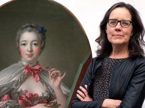 A photograph of art historian Cassandra Albinson next to a photograph of a portrait of the Marquise de Pompadour applying pink rouge to her cheeks